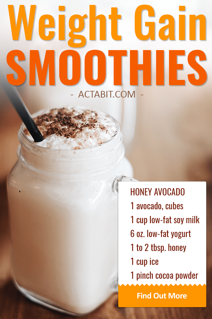 Make high-calorie but healthy weight gain smoothies with avocado, soy milk, yogurt and without protein powder. Great smoothie recipes for breakfast or meal replacement. Check weight gain shake recipes.
