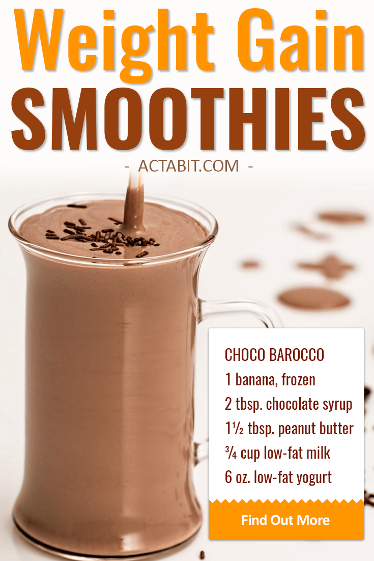Make high-calorie but healthy weight gain smoothies and shakes with peanut butter, banana and other fruit, almond milk, yogurt and without protein powder. Great smoothie recipes for breakfast or meal replacement.
