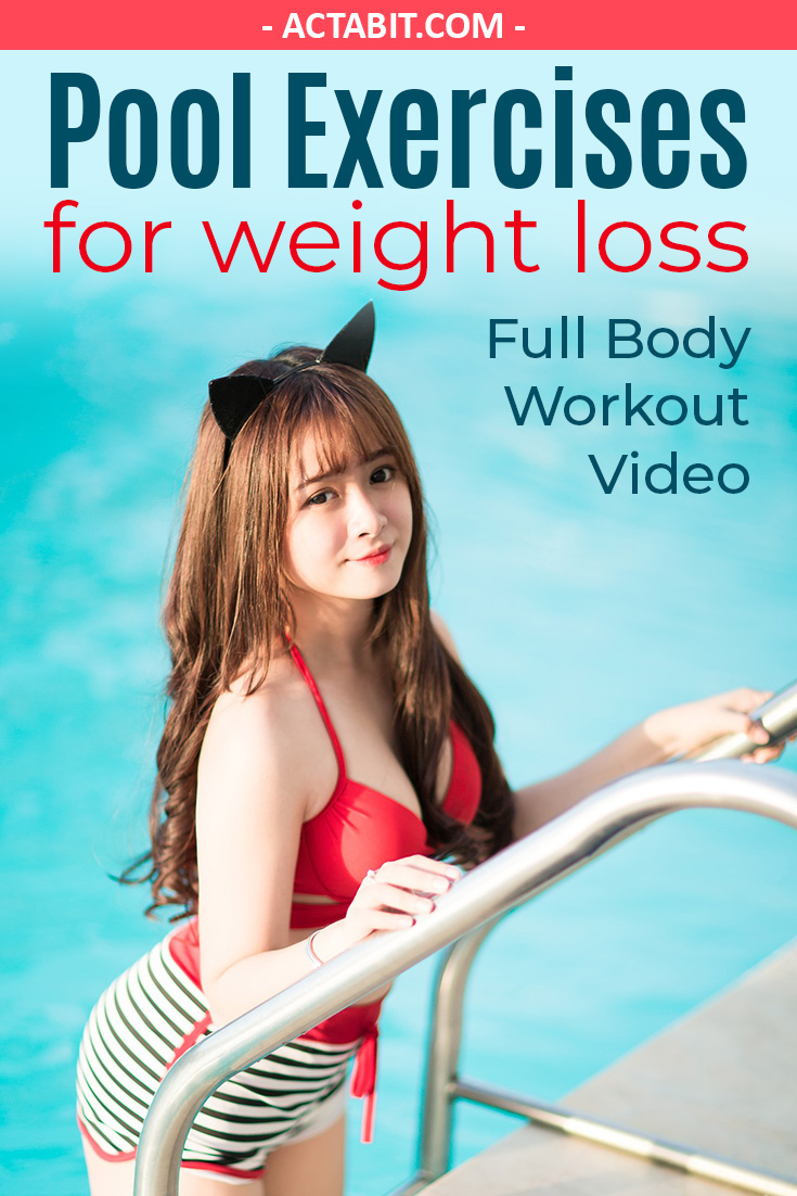 Easy pool exercises for weight loss. Check the free full-body cardio workout video.
